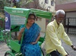 Kanthimathi Kannan, who is fighting the elections to the Andhra Pradesh assembly, campaigning on a cycle rickshaw in the Nampally constituency of Hyderabad